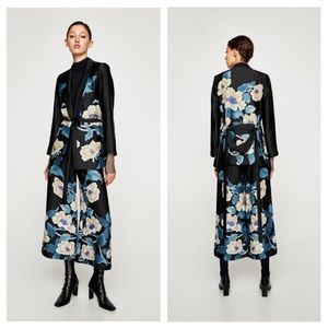 zara floral blazer with belt